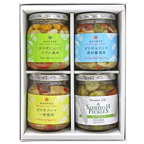 洋風惣菜4個セット【ギフト にんにく・えりんぎ・きゅうり・メンマ】
