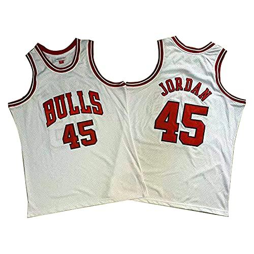 QJL Jerseys de Baloncesto de Jordan para Hombre, Bull Jordan Swordan Swordman 45# City Jersey - Versión Bordada (S-XXL) White-XL