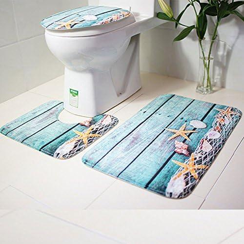 A.Monamour Bath Mat Set of 3 Watercolor Cute Mermaid Cartoon Purple Hair Fishes Seashells Flannel Washable Toilet Pedestal Mat Toilet Seat Lid Covers Cushions Pads Non Slip Bathtub Rug