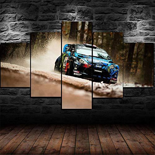 CDSWER キャンバス絵画プリント5ピース壁アートキャンバス写真用リビングルーム5ピースジムカーナスポーツカープリントポスター /木枠付きの完成品 /100x55cm