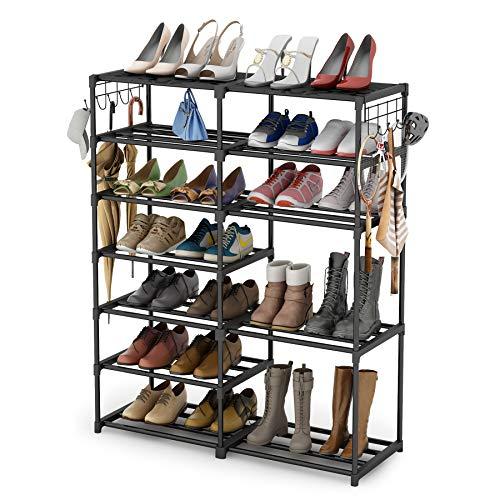 Shoe Rack Shoe Tower Shoe Shelf Shoe Storage Organizer Unit Entryway Shelf Stackable Cabinet 24-30 Pairs 7-Tier Durable Metal Shoe Rack Boots Organizer by Tribesigns