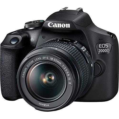 """Canon EOS 2000D (24.1MP) Fotocamera digitale SLR LCD da 3"""" (nero) con 2 x obiettivi (EF-S 18-55mm IS STM II obiettivo e EF 50mm f/1.8 STM)"""
