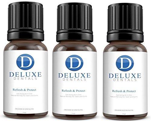 Deluxe Dentales Refresca & Protección Fuerza Maxima De Acción Rápida 100% Puro Botánico Aceites Natural Remedio para los dientes y Encías,Funciona como un Pasta de dientes,Enjuague bucal - 45ml