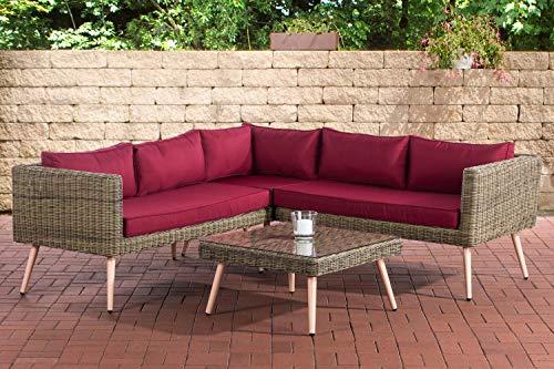 CLP Polyrattan Eck-Loungeset MOLDE I Natura I Gartenlounge Rundrattan I Eck-Sofa + Glastisch I 5mm Rattandicke, Farbe:rubinrot, Sitzhöhe/Farbe:45 cm (Lightbrown)