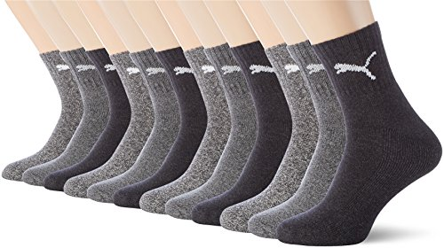 PUMA Unisex Short Crew Socks Socken Sportsocken MIT FROTTEESOHLE 12er Pack anthracite / grey 207 - 43/46