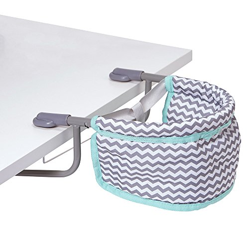 Adora Portable Table Zig Zag Feeding Seat in Teal Pattern Design For Dolls, Neutral, Model:217603