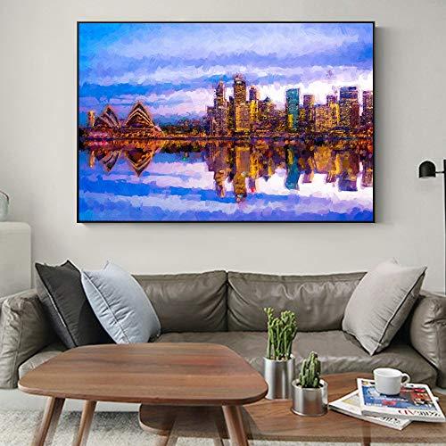 baodanla Abstracte fotolijst Sydney Opera House Landschap Marin en Tower Bridge Poster en gravure Modern Home Foto's