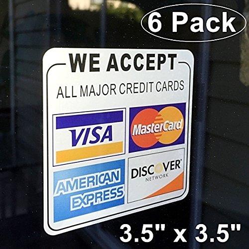 "We accept credit Visa Mastercard Amex Discover Sticker Vinyl Decal 9/"" x 2.5/"""