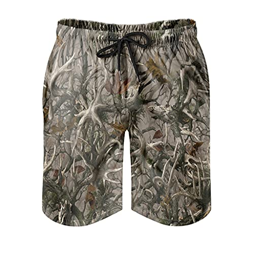 WellWellWell Bañador de verano para hombre, con bolsillos, diseño de camuflaje de madera, pantalones de playa blanco XXXXXL