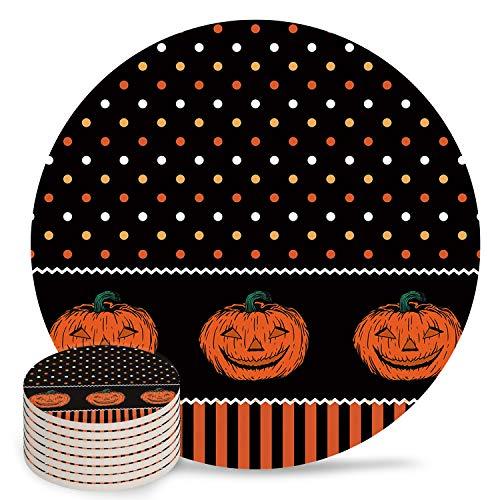4' Ceramic Drink Coasters Set of 8 Absorbent Coaster with Cork Base Cups Mug Place Mats for Kitchen Bar Home Decor, Happy Halloween Pumpkin Polka Dot Stripe Pattern