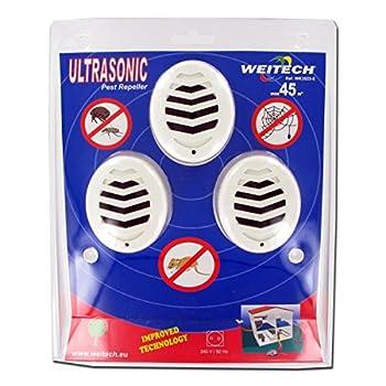 WEITECH WK3523 Pack de 3 Répulsif Ultrasons Anti Rongeur Souris Mulots Tiques Puces insectes