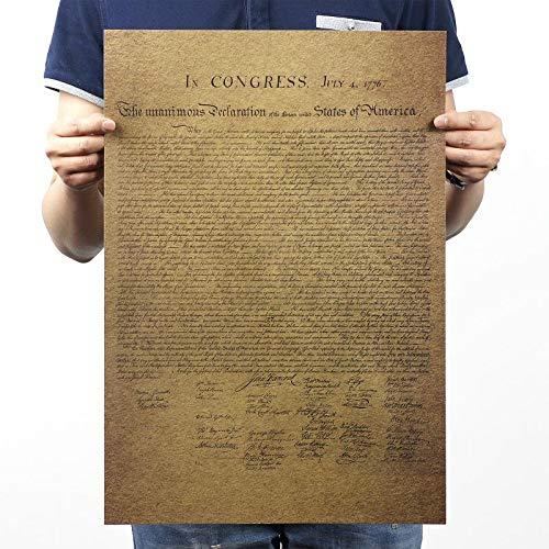 Vintage USA amerikanische Unabhängigkeitserklärung Retro altes Papier Poster Bar Wandaufkleber dekorative Malerei Gemälde 51 x 35 cm