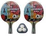 Set de Ping Pong (2 palas y 3 pelotas) Kounga GD Spirit Energy, Unisex...