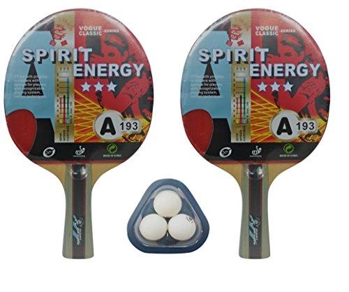 Set de Ping Pong (2 palas y 3 pelotas) Kounga GD Spirit Energy, Unisex Adulto, Rojo/Negro, Talla Única