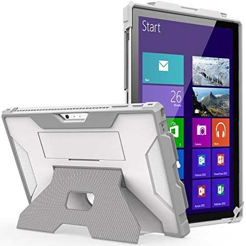 MoKo Case Fit Microsoft Surface Pro 7 Plus/7/6/5/4/LTE, [Heavy Duty] Shockproof Full-Body Rugged Hybrid Tablet Case with Hand Strap & Kickstand Fit Pro 7+/Pro 7/Pro 6/Pro 5/Pro 4/Pro LTE, White+Gray