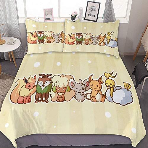 Bedding Duvet Cover Set,TWIN (68x86 inch), Raichu Altaria Minccino,3 Pieces Bedding Set,With Zipper Closure and 2 Pillow Shams, Cute Cartoon bedroom Comforter Sets for Boys Girls