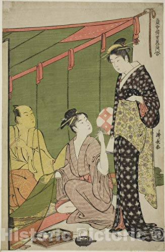 Historic Pictoric Print : Mosquito Net, from Contemporary Beauties of The Pleasure Quarters, Torii Kiyonaga, c 1784, Vintage Wall Decor : 08in x 12in