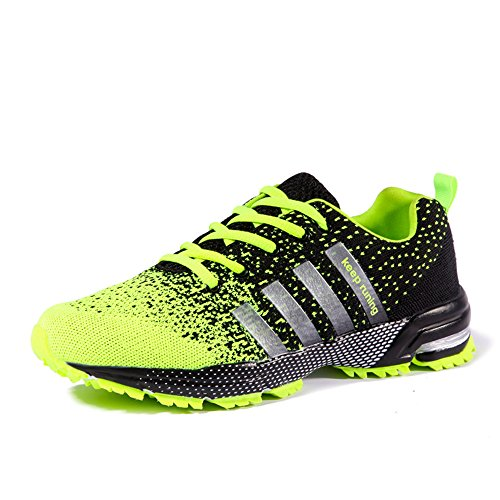 FZUU Athletic Minimalist Trail Running Shoes   Lightweight Jogging Walking Gym Sports Sneakers   for Men Women (8 (M) US, Green)