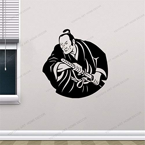 Dwzfme Adesivi Murali Adesivi da Parete Kendo Sword Samurai Decal Giappone Ninja Sticker Poster Vinyl Art Decor Murale 57x61cm