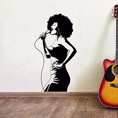 YuanMinglu Afrikanische Musik Sänger Wandaufkleber Club abnehmbar Vinyl Wand Fenster Poster schwarz 42x78cm