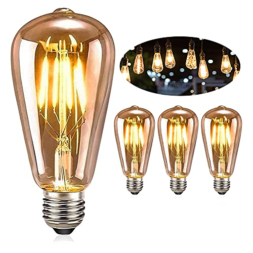 E27 Vintage Edison Bombilla,FOGARI 4W 2300K Retro Decorativas LED Bombilla, ST64 Bombilla...