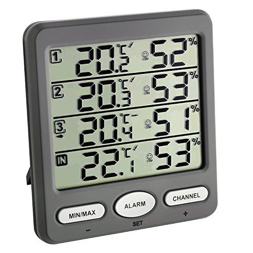 TFA Dostmann Funk-Thermo-Hygrometer Klima-Monitor TFA 30.3054 Raumklimakontrolle (grau mit Batterien)