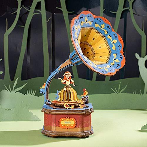 XIJIANG 7 tipos de bricolaje 3D juego de rompecabezas de montaje móvil caja de música juguete para niños adultos AM43Gramófono