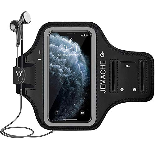 iPhone 12 Pro Max, 11 Pro Max Armband, JEMACHE Water Resistant Gym Running Workouts Arm Band Case for iPhone 12 Pro Max, 11 Pro Max, Xs Max with Card Holder (Black)