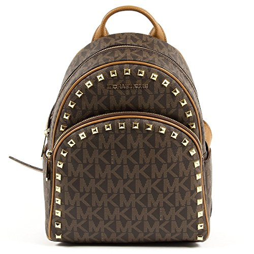 Michael Michael Kors Abbey Brown/Signature Medium Frame out Stud Backpack