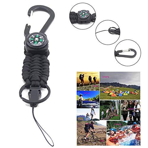 4 en 1 Multi-Fonction Paracord Bracelet Parachute Cord Compass Carabiner Ouvre-Bouteille Bracelet de Survie en Plein air (Noir) FRjasnyfall