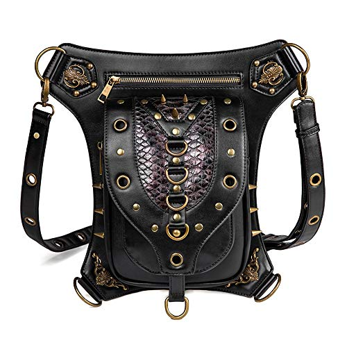 Sac Banane Steampunk Steam Punk Retro Rock Gothique Goth épaule Taille Sacs Packs Leg Drop for Femmes Hommes Pochette de Course (Color : Black, Size : 17x23cm)
