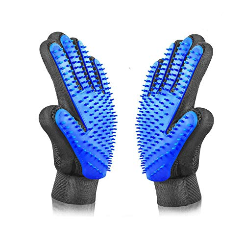Pet Hair Remover Glove - Gentle Pet Grooming Glove Brush - Efficient Deshedding Glove - Massage Mitt with Enhanced Five Finger Design - Perfect for Dogs Long & Short Fur - 1 Pack (2 in 1 Glove)