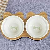MRDS Ciotola per Animali Domestici Scaffale in bambù Ciotole in Ceramica per Gatti Alimentazione e abbeveraggio per Cani Gatti Accessori per Animali Domestici Alimentatore, Osso
