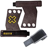 Pack Calleras para Cross Training y Muñequeras, Grips de Microfibra prensada, Gimnasio, Halterofilia, Calistenia, Box (L)