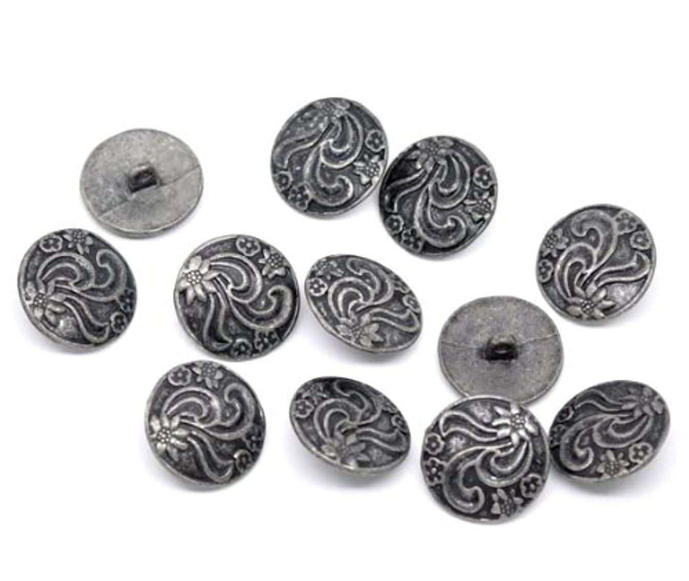 PEPPERLONELY Brand 10PC Antiqued Silver Flower Round Scrapbooking Sewing Buttons 20mm (Approximately 13/16 Inch)