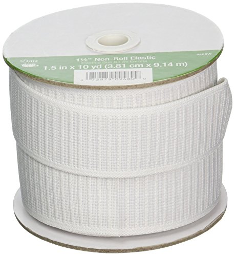Dritz 9480W Non-Roll Woven Elastic, White, 1-1/2-Inch by 10-Yard
