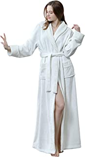 Winter Thicken Velvet Warm Women Solid Pocket Waistband Robe Bathrobe Gown Pajamas Sleepwear