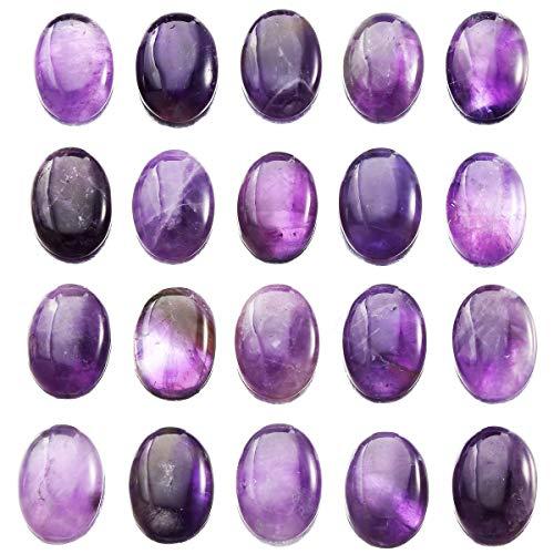 mookaitedecor 12pcs Amethyst Oval Cabochon Gemstone CAB Flatback Stone for Jewelry Making, 18x25mm