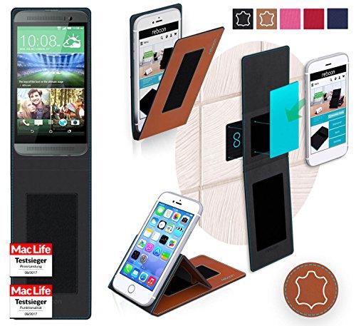 Hülle für HTC One E8 Tasche Cover Hülle Bumper | Braun Leder | Testsieger