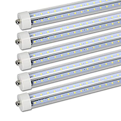 8ft Led Tube Light, FA8 V Shape 8 Foot Led Light Bulbs, FA8 Single Pin V-Shape Fluorescent Replacement,72W 6000K Cool White, Clear Lens, Double-Ended Power, 7200 Lumens