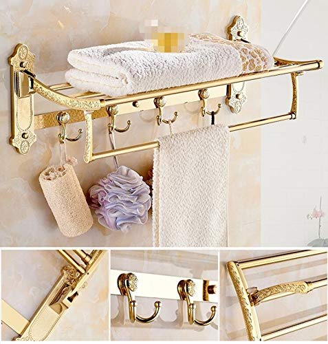 Preisvergleich Produktbild ZHFC Europäischen Luxus Gold Kupfer Bad Bad Handtuch Rack Bad Lagerung Organizer Regal Bad Regal Dusche Bad Accessoires Double Handtuch Bar Halter Handtuch Bars Mount Handtuch Sprossenwand