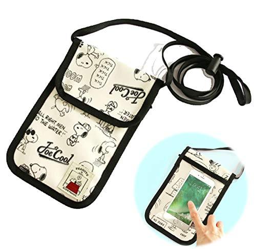 バンガード パスポートケース 旅行用 首さげ ネックホルダー 透明 スマホ 対応 ポケット付き アイボリー (かわいい キャラクター スヌーピー ドッグハウス シリーズ)