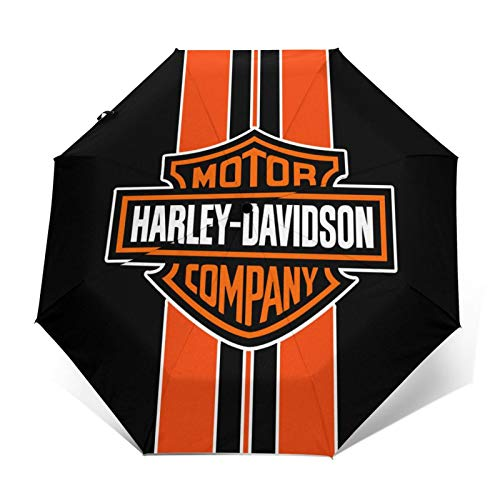 Paraguas plegables Har-Ley Dav-Idson Stripe Wonder Jum-Bo Impresión de moda Ligero Impermeable Protector solar A prueba de viento Durable Paraguas plegable Paraguas de viaje
