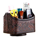 PU leather 360-degree rotatable remote control/controller storage box, rotating TV guide/mail/media desktop...