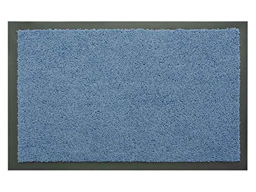 Schmutzfangmatte Sauberlauf Matte DANCER – Blau, 40x60 cm, Waschbare, Rutschfeste, Pflegeleichte Fußmatte, Eingangsmatte, Küchenläufer Matte, Türmatte Haustür Innen & Außen