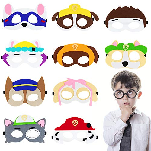 Lunriwis 10 máscaras de animales para niños, cosplay, cumpleaños, disfraces, Halloween, fiestas, Navidad, cumpleaños, regalos para niños (A)