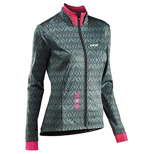 Northwave Allure TP dames fiets regen/winterjas groen/roze 2020