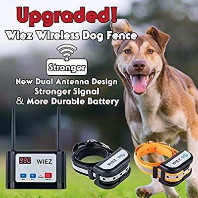 WIEZ Electric Wireless Dog Fence Upgraded, Dual Antenna-Stronger Signal, Adjustable Range Control 100-990 ft, Waterproof Collar, Rechargeable, Harmless for All Dogs, for Outdoor. 2 Collars