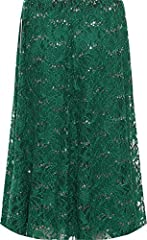 WearAll Women's Plus Floral Lace Lined Sequin Flared Elasticated Ladies Midi Skirt - Green - 26-28 #1