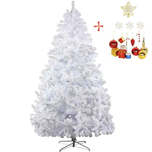 LUCKYERMORE 8 FT Tall Christmas Tree White Artificial Premium 1500 Tips Holiday Tree with Metal Leg and Xmas Ornaments